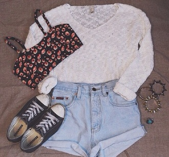 shorts sweater tank top jewels top cute hippie hipster girly tumblr boho