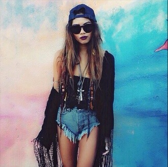 shorts bohemian boho chic boho style boho kimono hair accessory home accessory top cardigan sunglasses make-up
