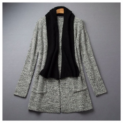 Grey cardigan with black trim sweater wrap coat