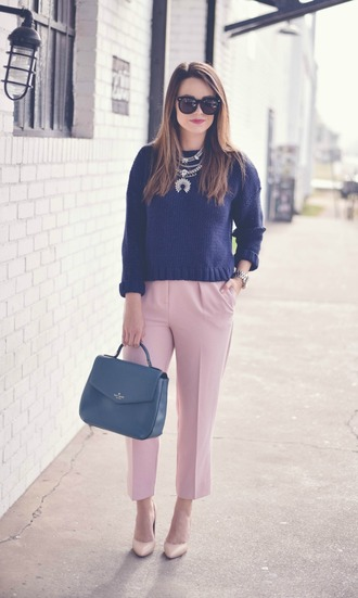 live more beautifully blogger sweater pants jewels shoes sunglasses make-up nude pants handbag high heels nude heels necklace statement necklace jewelry thanksgiving outfit