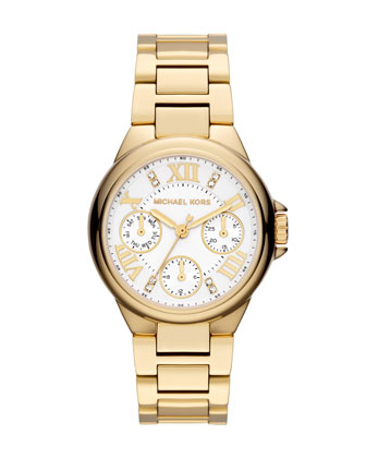 Michael Kors  Mini Golden Stainless Steel Camille Chronograph Glitz Watch - Neiman Marcus