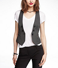 STUDIO STRETCH FAUX DOUBLE BREASTED VEST | Express