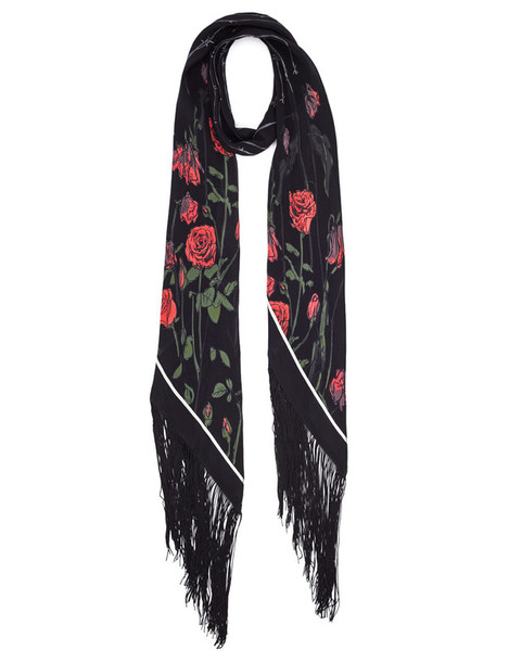 scarf black silk roses