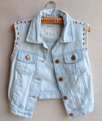 jacket short denim jacket studs vest blouse weheartit jeans stud shirt denim light blue hipster indie top coat