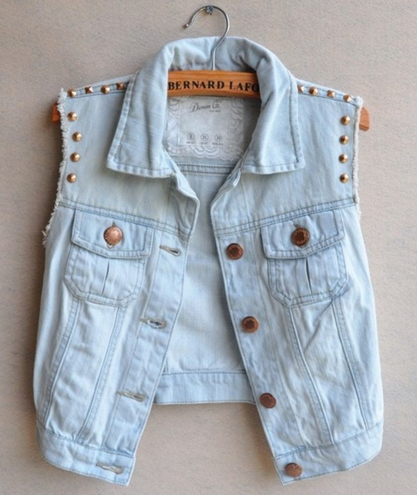 jacket short denim jacket studs vest denim jacket blouse weheartit jeans stud shirt denim light blue hipster indie top shirt coat