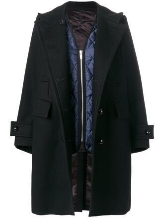 coat double breasted women black wool