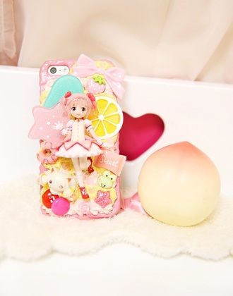 phone cover pink cute kawaii iphone madoka magica lovely girly custom girl japan japanese kotakoti dakotakoti lolita doll dolly madoka kaname madoka puella magi madoka magica kyubey manga anime 魔法少女まどか☆マギカ mahō shōjo madoka magicaa