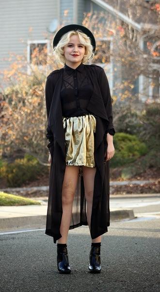 broke hell blogger skirt blouse gold metallic coat