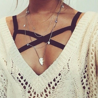 top black strapy bralette jewels underwear sweater bralette bra black cream pullover bandeau strappy shirt ivory white knitted sweater strappy bra brallete necklace light brown strappy black sexy pinterest black brallette cream knitted sweater knitwear deepv-neck