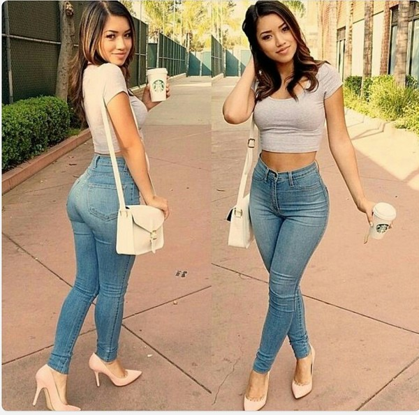 jeans shoes top cute high waisted jeans high waisted high waisted pants high waisted light blue jeans pants heels nude pointed heels nude nude high heels pointed toe heels nude pumps