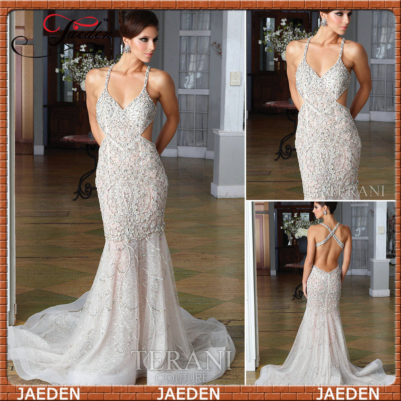 V neck Spaghetti Strap Swarovski Elegant Champagne Backless Crystal Long Prom Zuhair Zurad Dress 2013-in Prom Dresses from Apparel & Accessories on Aliexpress.com