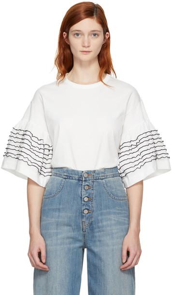 t-shirt shirt t-shirt ruffle white off-white top