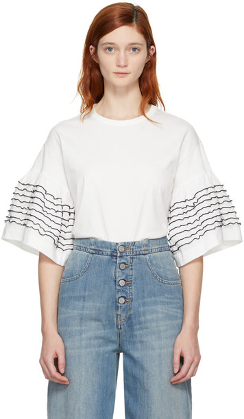 See by Chloe t-shirt shirt t-shirt ruffle white off-white top