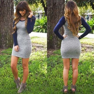 dress blue casual long sleeves fashion grey trendy casual dress fall outfits musheng style