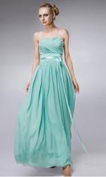 zj0042 cielo azul de gasa vestido strapless sash mujeres vestidos de fiesta 2013 vestido de dama de la moda