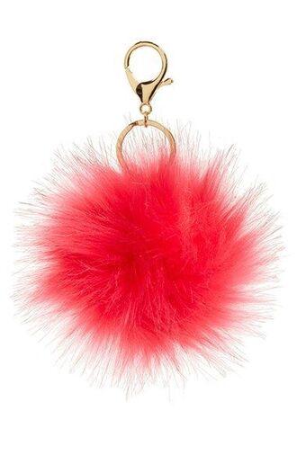 bag bag charm charm fluffy puffy pink keychain fur keychain fuzzy ball keychain bag accessoires