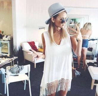 summer outfits dress tee dress sundress summer dress lwd hat fedora felt hat choker necklace crochet singlet dress