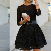 dress,black dress,black,silver and leather bracelet,dresses evening,little black dress,lace dress,belt,bag,classy,short dress,mini dress,formal dress,cute dress,girly,cute black dress,event,formal event,date outfit