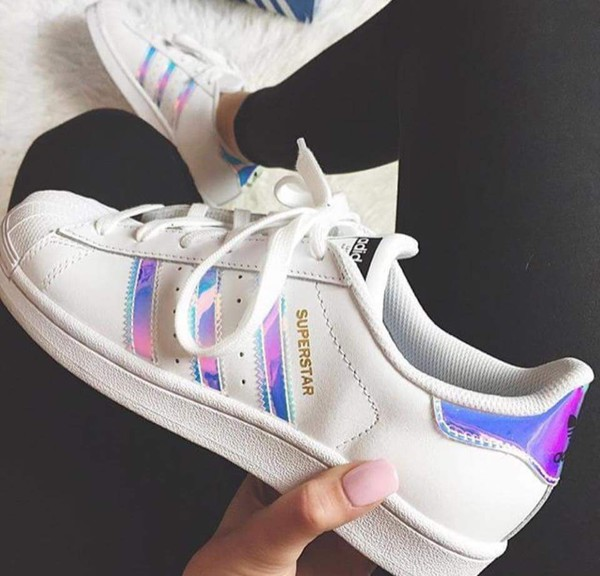 shoes adidas adidas shoes adidas superstars hologram sneakers stripes white wheretoget. Black Bedroom Furniture Sets. Home Design Ideas