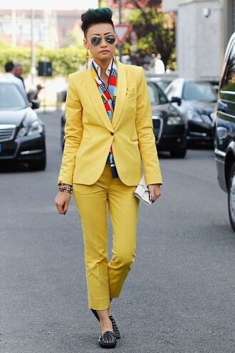 pants all yellow outfit yellow blazer matching set power suit shoes streetstyle androgynous yellow pants