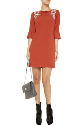 dress,mini kai,mini kai embroidered stretch-crepe dress,crimson,alice by temperley,mini dress