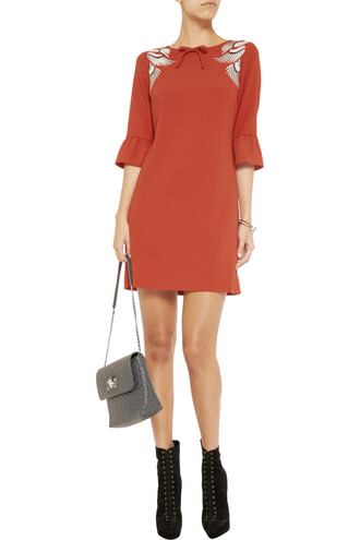 dress mini kai mini kai embroidered stretch-crepe dress crimson alice by temperley mini dress