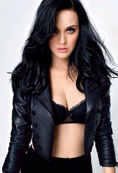 coat,katy perry,black,leather,jacket,underwear