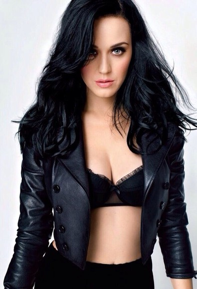 katy perry black coat leather jacket underwear