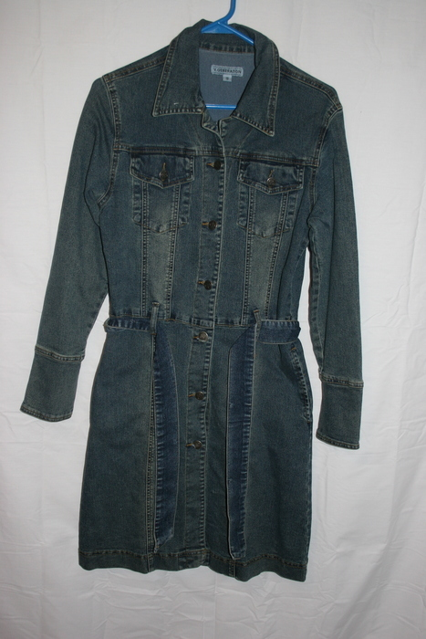 Womens 90s Denim Long Seeve Mini Dress