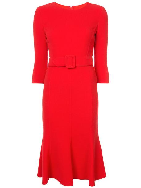oscar de la renta dress shift dress women wool red