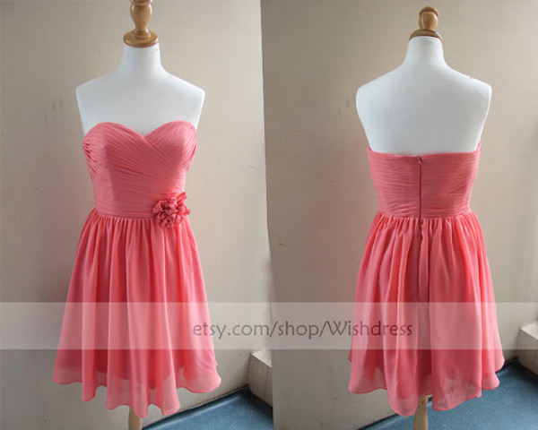 coral bridesmaiddress watermelon bridesmaiddress flower bridesmaiddress junior bridesmaiddress dress with flower chiffon bridesmaiddress short bridesmaid dress knee length bridesmaid dress coral cocktail dress coral prom dress watermelon prom dress