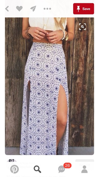 skirt maxi summer outfits double slit skirt maxi skirt blue and white