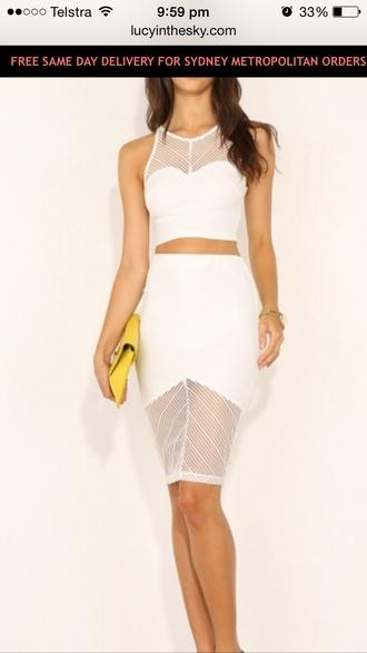 skirt white skirt white top pencil skirt two-piece