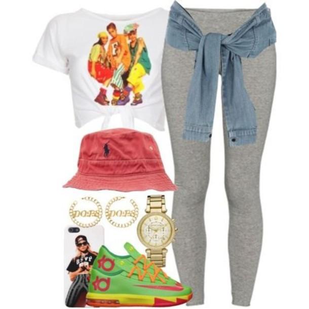Shirt crop tops leggings kd bucket hat shoes hat jewels - Wheretoget
