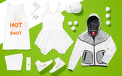 dress,tennis,drop shot,tennis dress,tennis shoes,nike,summer,2014,cap,jacket,gold,white,orange,maria sharapova,victoria azarenka,nike tennis,women,Serena Williams