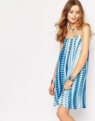 dress boho summer blue sundress flowy tie dye loose