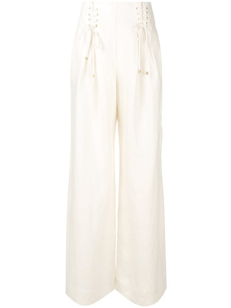 Zimmermann pants palazzo pants high waisted high women white silk