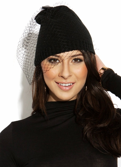 Birdcage-Veil-Beanie BLACK - GoJane.com
