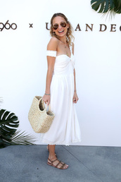 dress,white,white dress,sandals,bag,midi dress,nicole richie,coachella