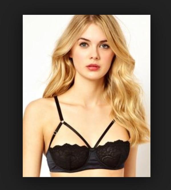 underwear bra lace bralette black cut out bra chic