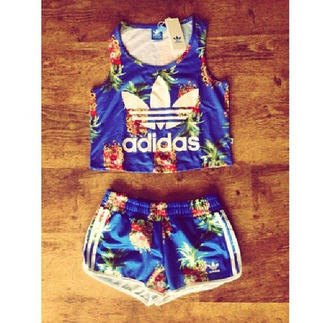 top adidas adidas tracksuit clothes top pants tracksuit pineapples two-piece jumpsuit flowered shorts blue shorts shorts floral tank top blue shirt