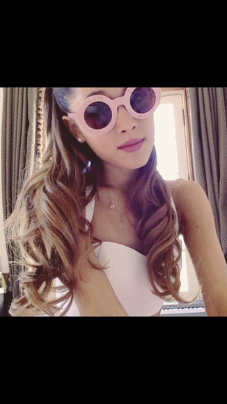sunglasses summer round glasses cute ariana grande pink