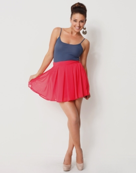 Chiffon pleated waist skirt with flared hem