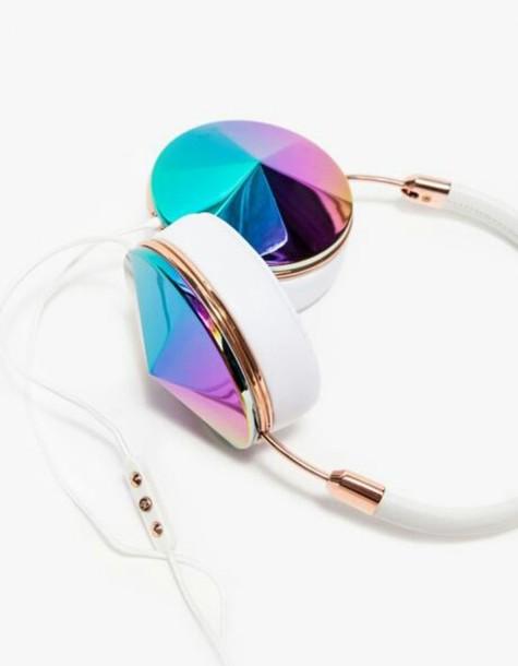 earphones headphones rose gold spikes