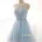 Cute round neck tulle light blue short prom dress, bridesmaid dress - 24prom