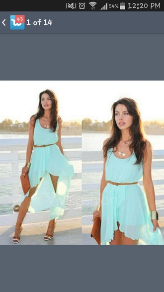 dress mint dress blue dress chiffon dress high-low dresses