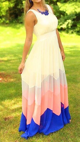 white dress colored dress dress maxis summer maxi dress cute sun dress yellow pink blue 2015 summer maxi dress