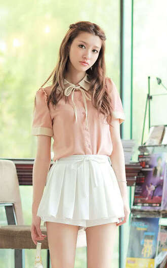 blouse skirt skorts japanese fashion white pink cute top