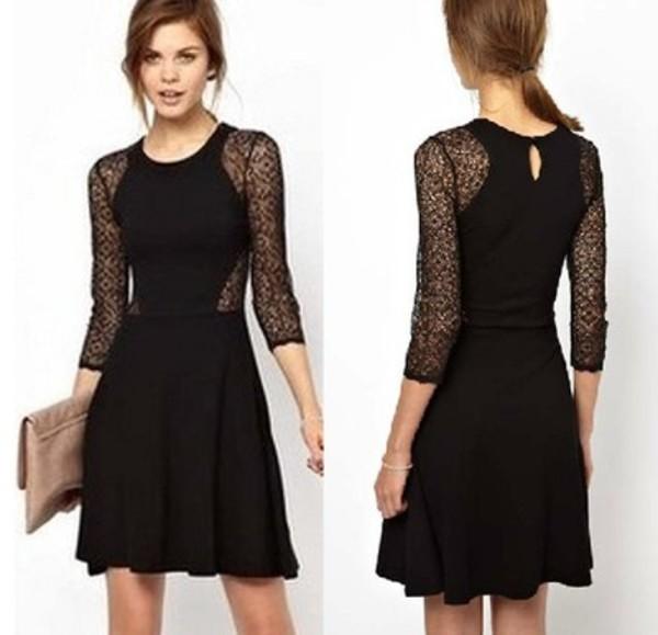 Black long sleeve ruffle dress