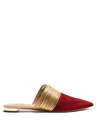 backless loafers gold burgundy shoes